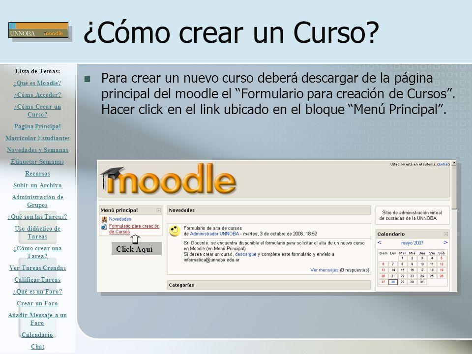¿Cómo crear un Curso Lista de Temas: ¿Qué es Moodle ¿Cómo Acceder ¿Cómo Crear un Curso Página Principal.