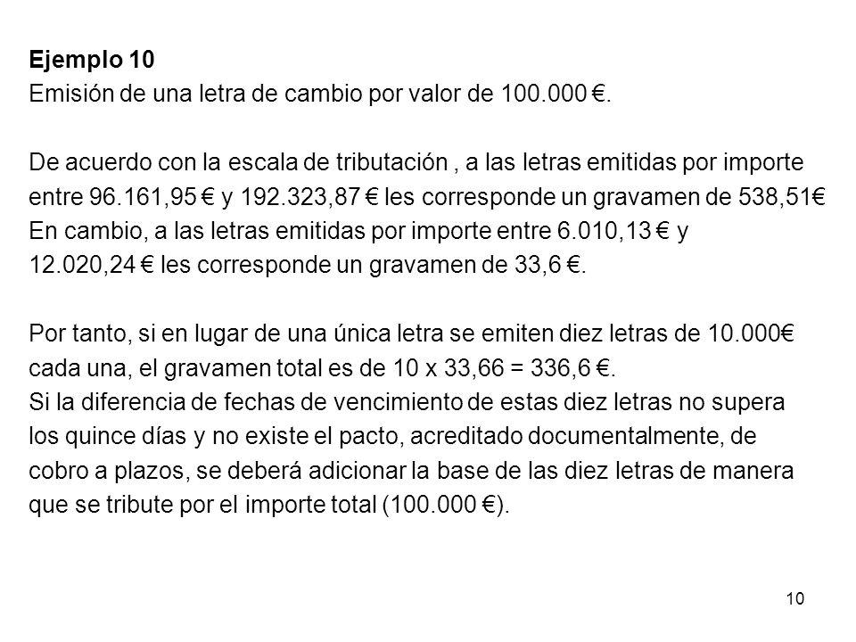Ejemplo 10 Emisión de una letra de cambio por valor de 100. 000 €