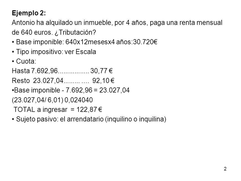 Ejemplo 2: Antonio ha alquilado un inmueble, por 4 años, paga una renta mensual de 640 euros.