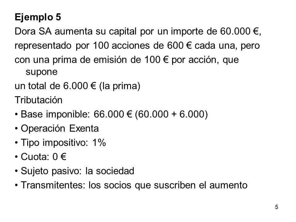 Ejemplo 5 Dora SA aumenta su capital por un importe de 60