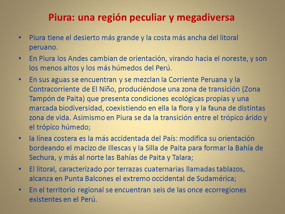 Piura: una región peculiar y megadiversa