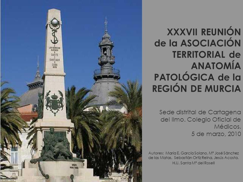 XXXVII REUNIÓN de la ASOCIACIÓN TERRITORIAL de ANATOMÍA PATOLÓGICA de la REGIÓN DE MURCIA Sede distrital de Cartagena del Ilmo. Colegio Oficial de Médicos. 5 de marzo, 2010