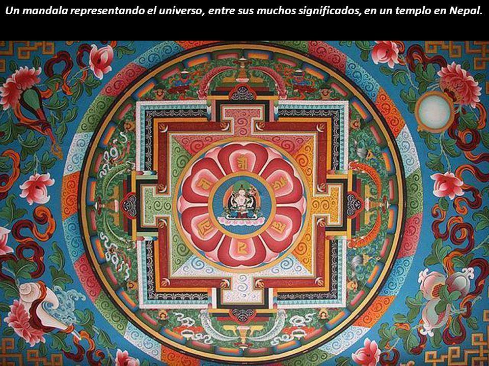 Un mandala representando el universo, entre sus muchos significados, en un templo en Nepal.