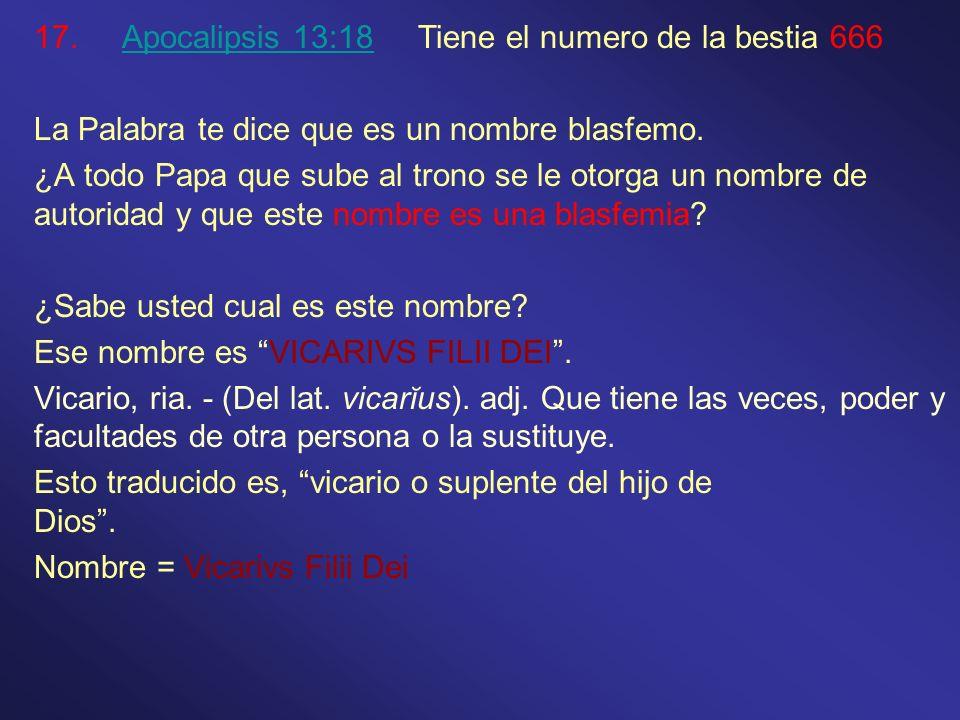 Apocalipsis 13:18 Tiene el numero de la bestia 666