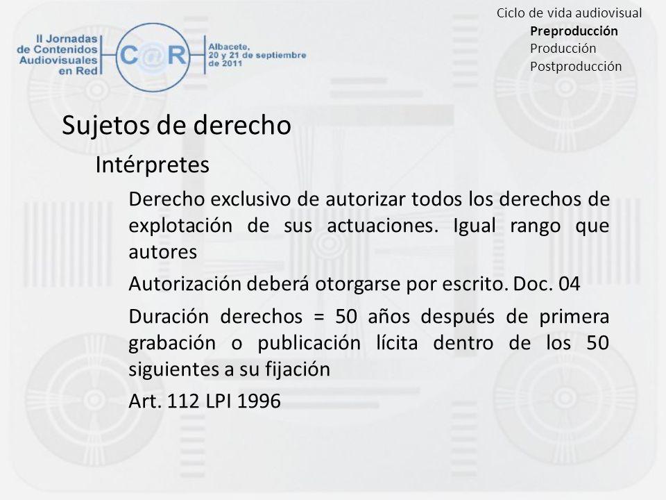 Sujetos de derecho Intérpretes