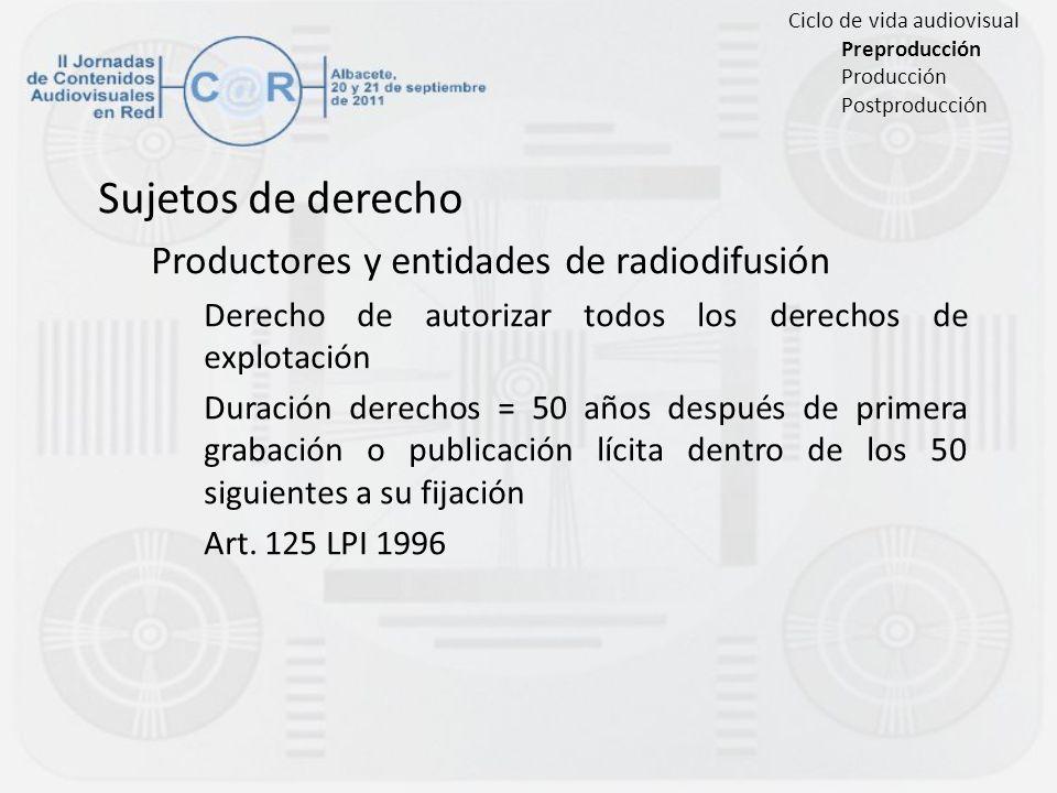 Sujetos de derecho Productores y entidades de radiodifusión