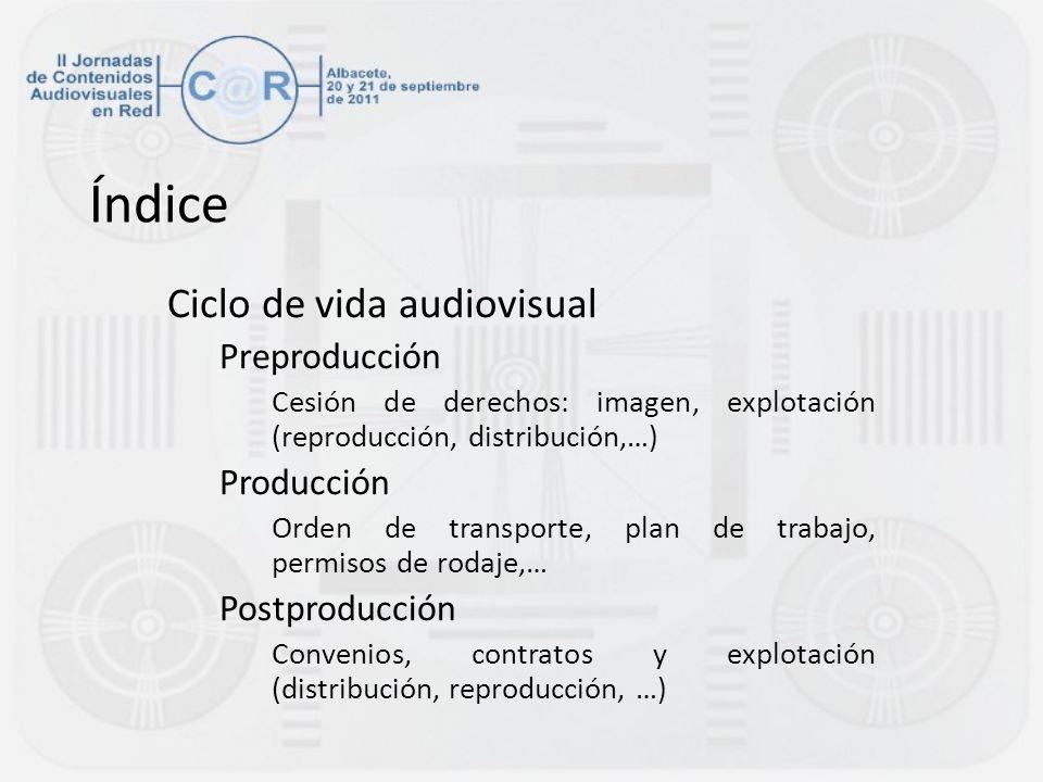 Índice Ciclo de vida audiovisual Preproducción Producción