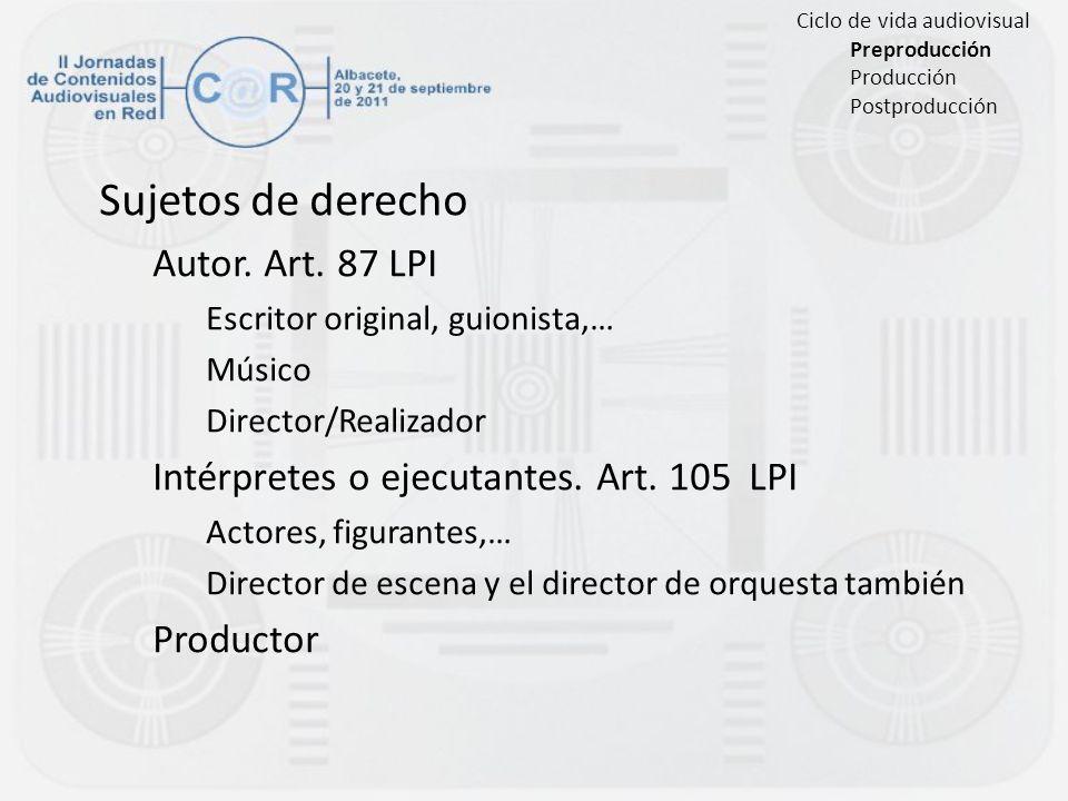 Sujetos de derecho Autor. Art. 87 LPI