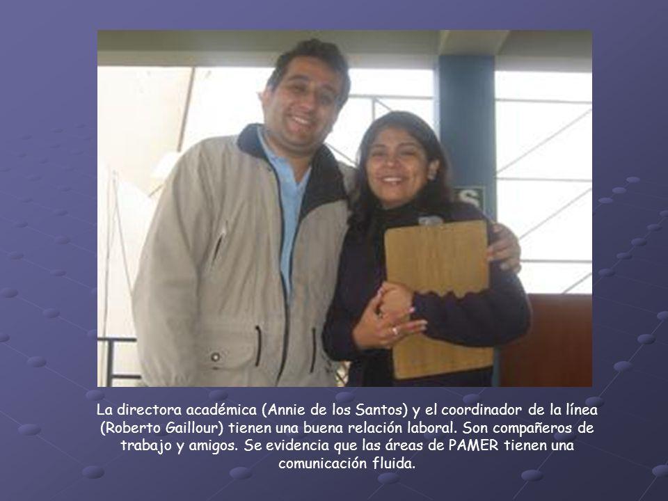 La directora académica (Annie de los Santos) y el coordinador de la línea (Roberto Gaillour) tienen una buena relación laboral.