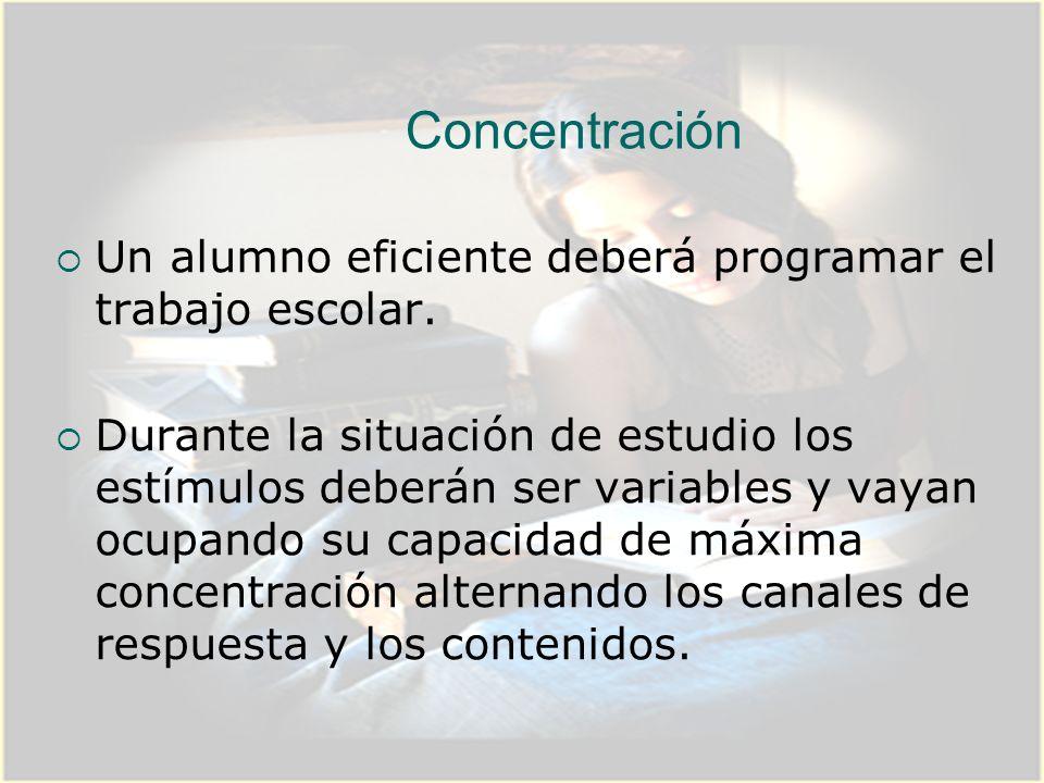 Concentración Un alumno eficiente deberá programar el trabajo escolar.