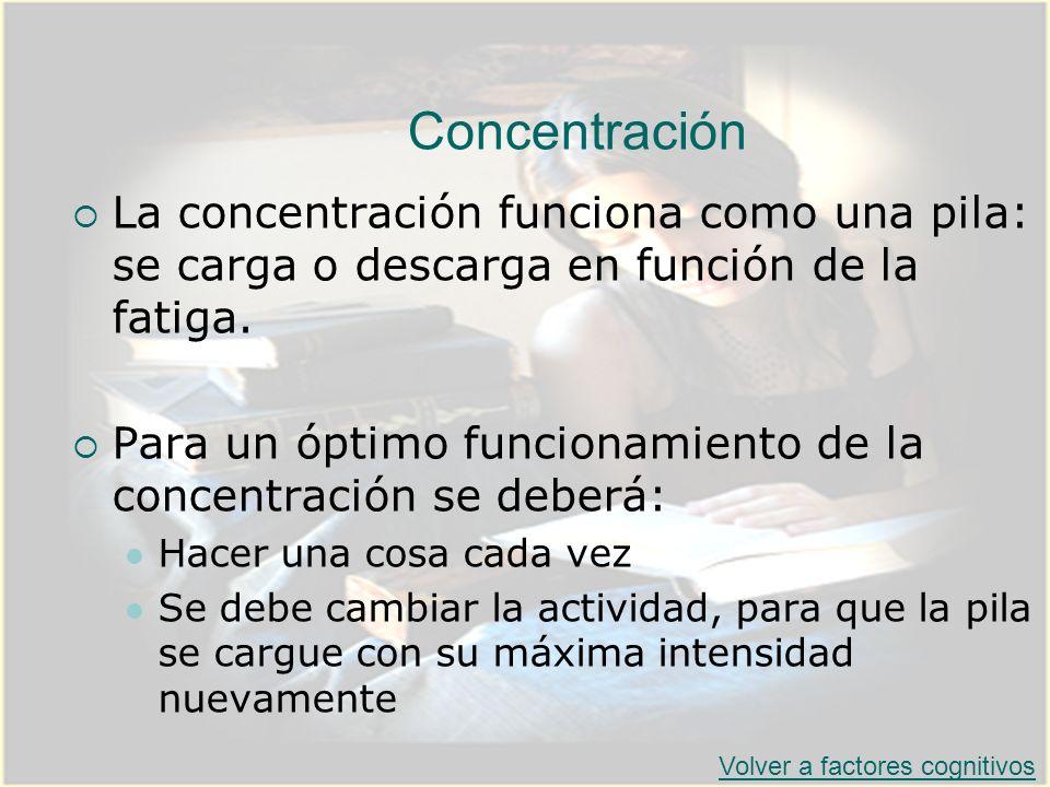 ConcentraciónLa concentración funciona como una pila: se carga o descarga en función de la fatiga.