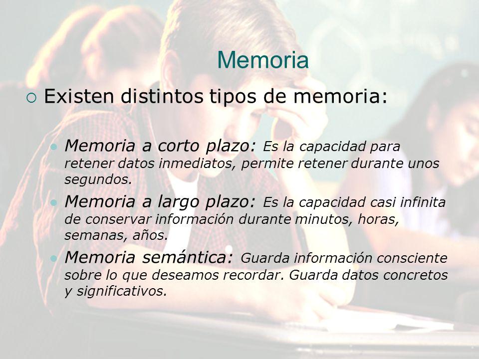 Memoria Existen distintos tipos de memoria: