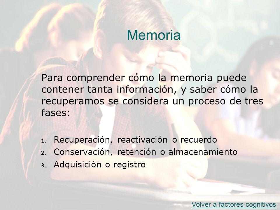 Memoria Para comprender cómo la memoria puede contener tanta información, y saber cómo la recuperamos se considera un proceso de tres fases: