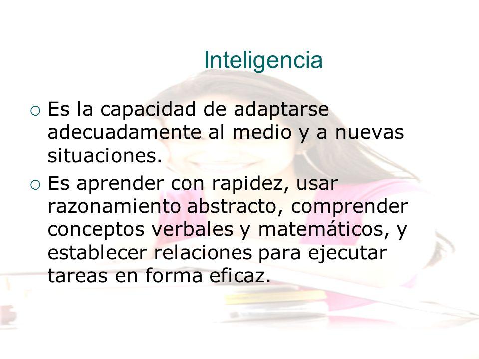 Inteligencia Es la capacidad de adaptarse adecuadamente al medio y a nuevas situaciones.