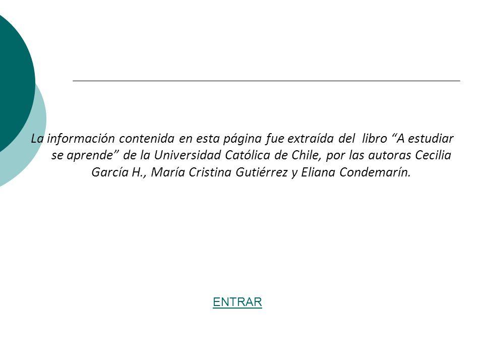 La información contenida en esta página fue extraída del libro A estudiar se aprende de la Universidad Católica de Chile, por las autoras Cecilia García H., María Cristina Gutiérrez y Eliana Condemarín.