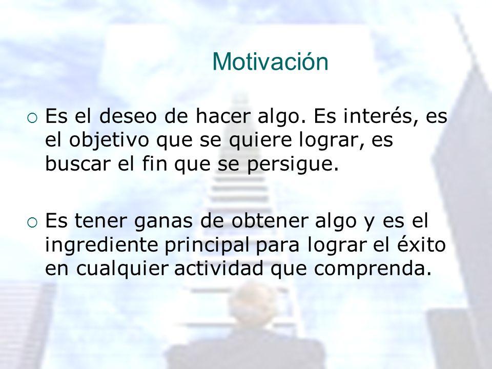 Motivación Es el deseo de hacer algo. Es interés, es el objetivo que se quiere lograr, es buscar el fin que se persigue.
