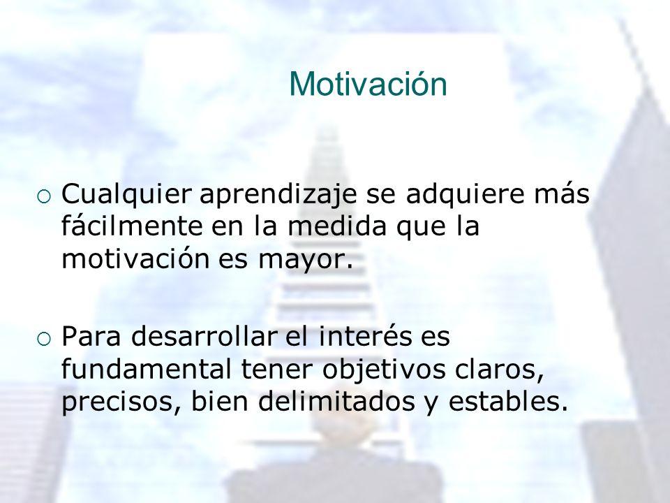 Motivación Cualquier aprendizaje se adquiere más fácilmente en la medida que la motivación es mayor.