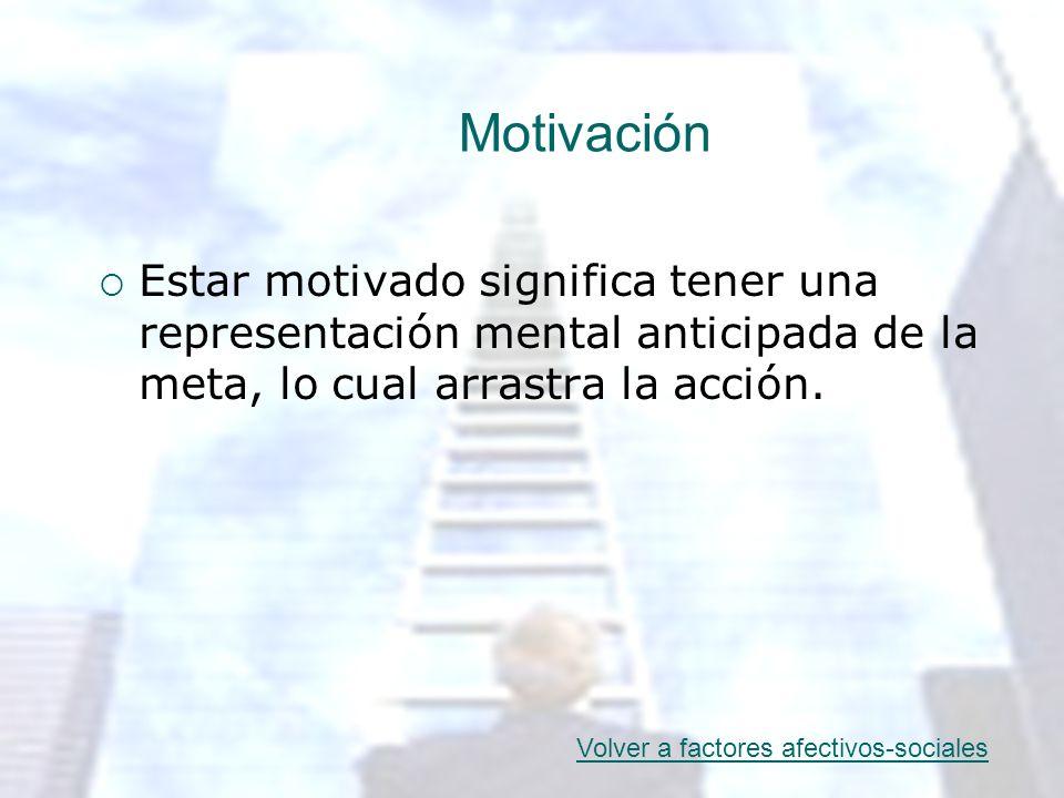 Motivación Estar motivado significa tener una representación mental anticipada de la meta, lo cual arrastra la acción.