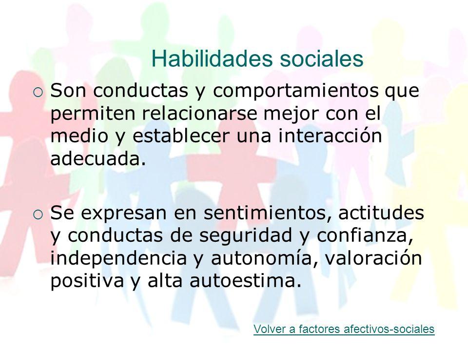 Habilidades sociales Son conductas y comportamientos que permiten relacionarse mejor con el medio y establecer una interacción adecuada.