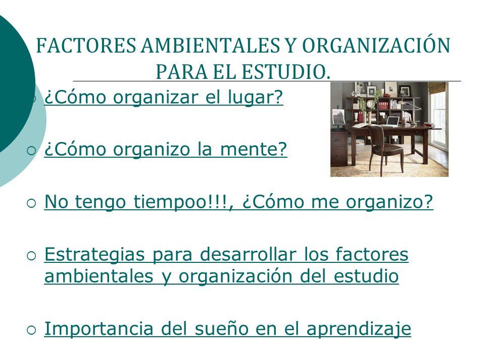 FACTORES AMBIENTALES Y ORGANIZACIÓN PARA EL ESTUDIO.