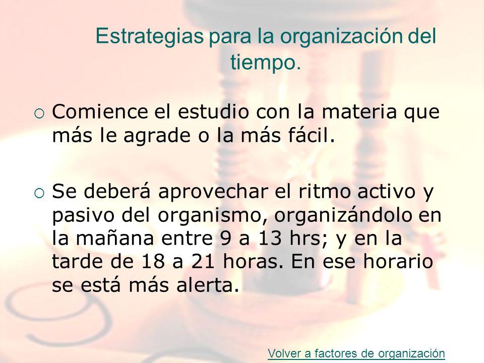 Estrategias para la organización del tiempo.