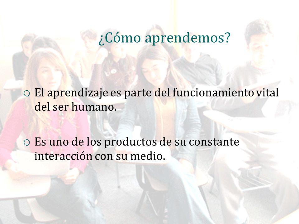 ¿Cómo aprendemos. El aprendizaje es parte del funcionamiento vital del ser humano.