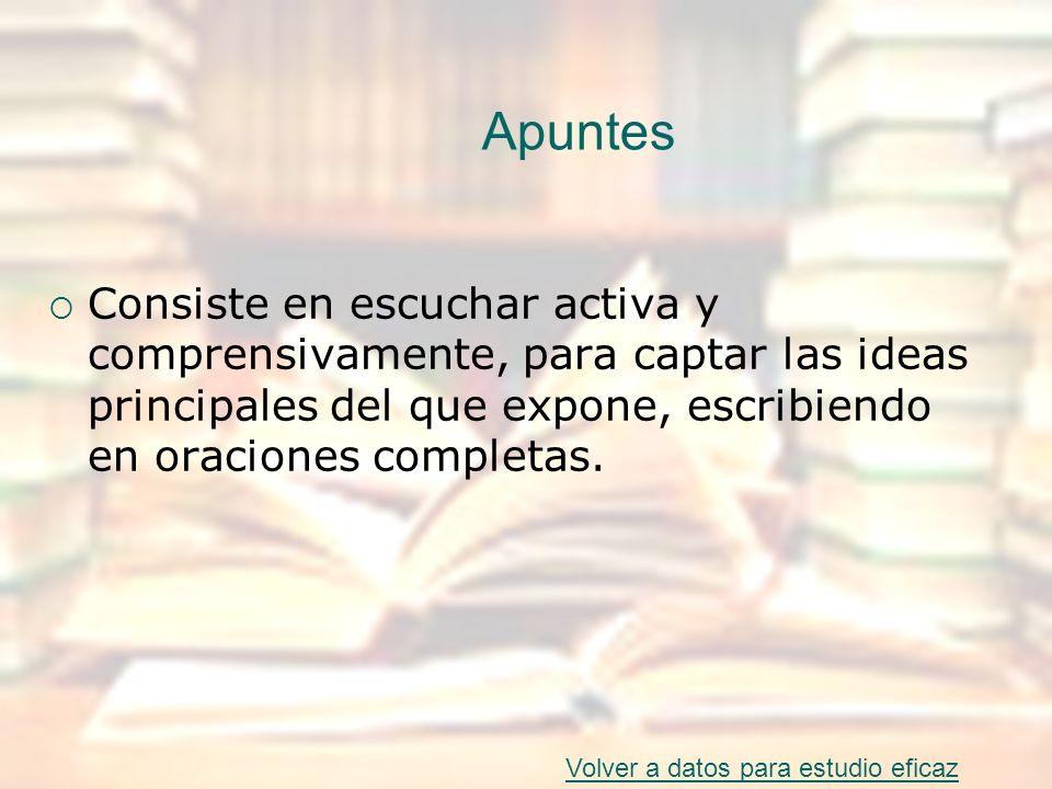 Apuntes Consiste en escuchar activa y comprensivamente, para captar las ideas principales del que expone, escribiendo en oraciones completas.