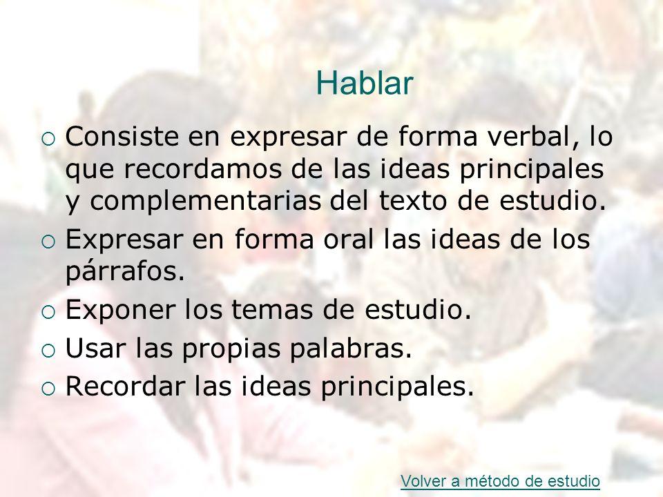 HablarConsiste en expresar de forma verbal, lo que recordamos de las ideas principales y complementarias del texto de estudio.