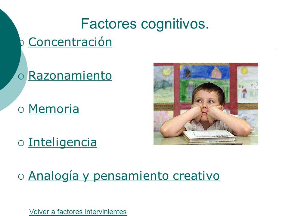 Factores cognitivos. Concentración Razonamiento Memoria Inteligencia