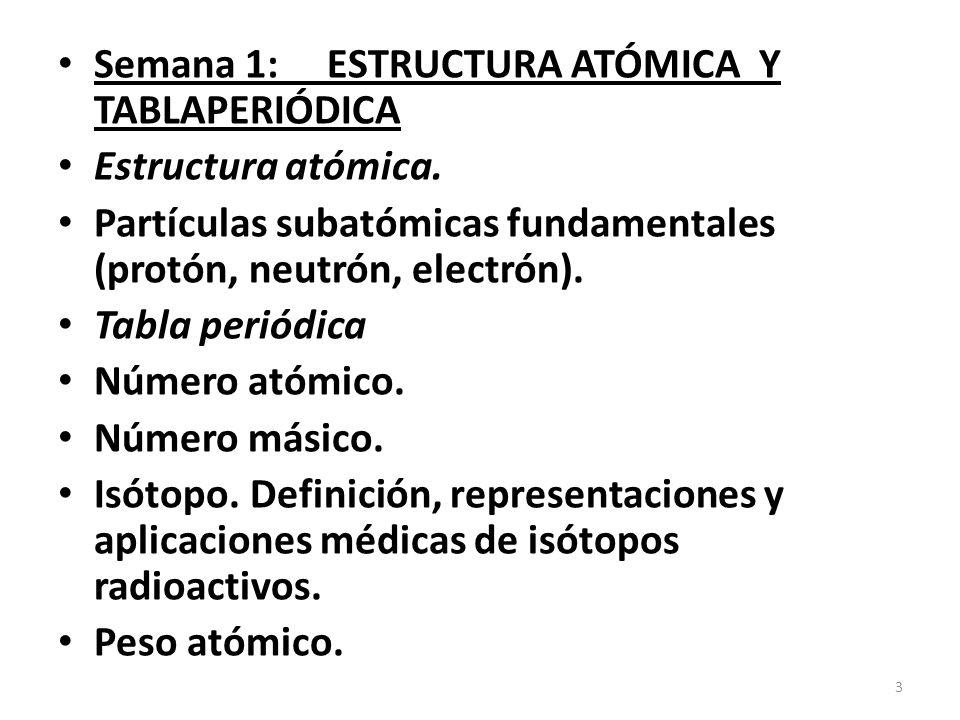 semana 1 estructura atmica y tablaperidica - Tabla Periodica Y Estructura Atomica