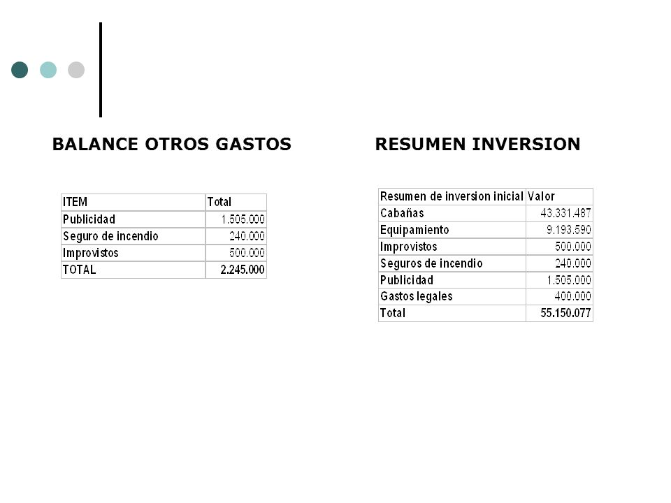 BALANCE OTROS GASTOS RESUMEN INVERSION