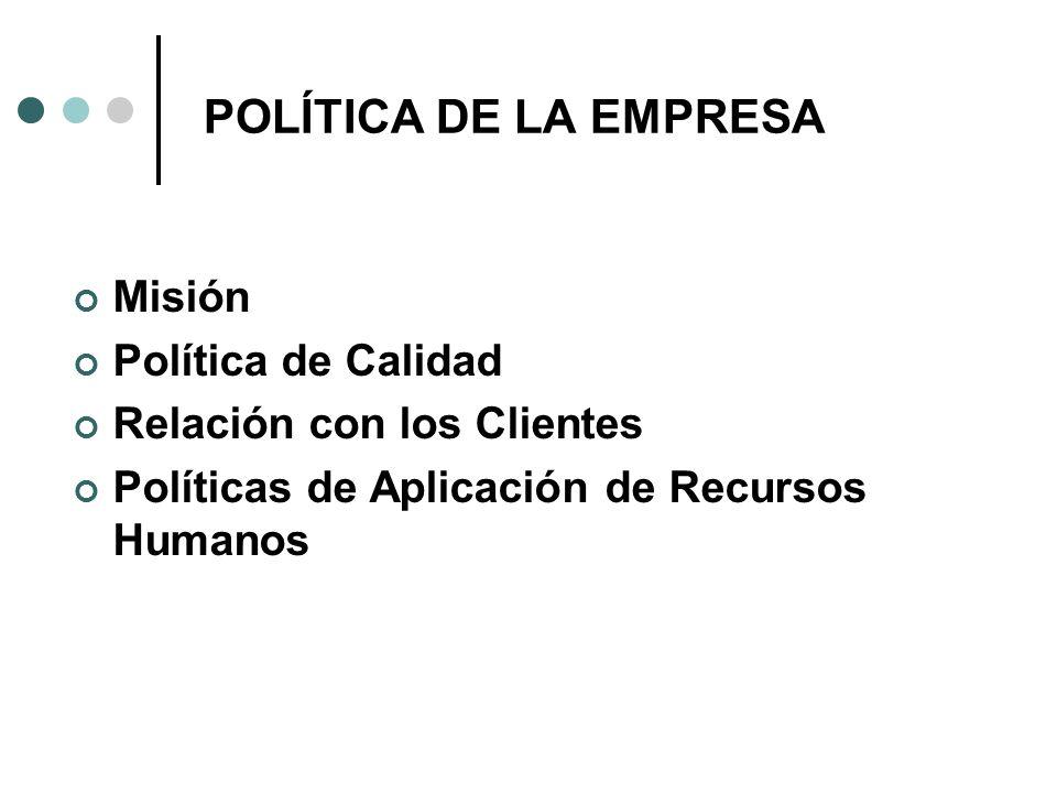 POLÍTICA DE LA EMPRESA Misión Política de Calidad