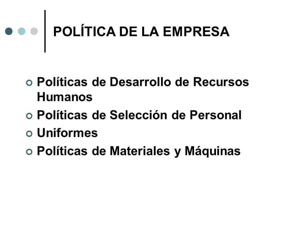 POLÍTICA DE LA EMPRESA Políticas de Desarrollo de Recursos Humanos