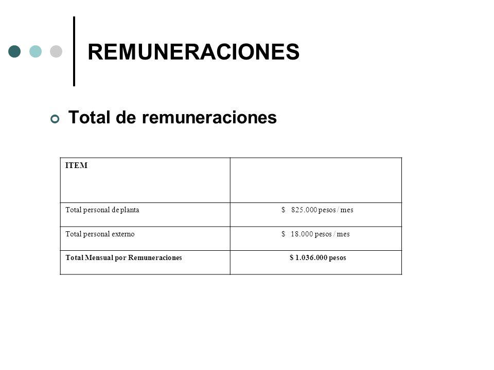REMUNERACIONES Total de remuneraciones ITEM Total personal de planta