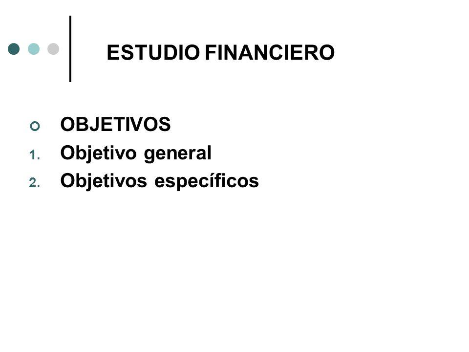 ESTUDIO FINANCIERO OBJETIVOS Objetivo general Objetivos específicos