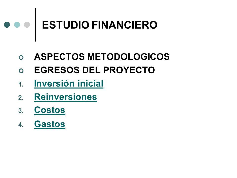 ESTUDIO FINANCIERO ASPECTOS METODOLOGICOS EGRESOS DEL PROYECTO