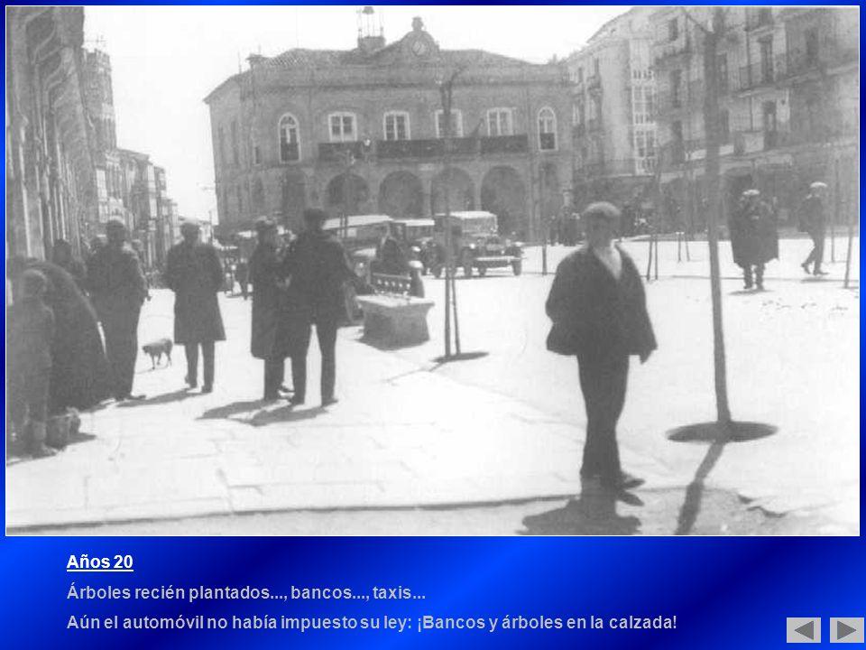 Años 20 Árboles recién plantados..., bancos..., taxis...