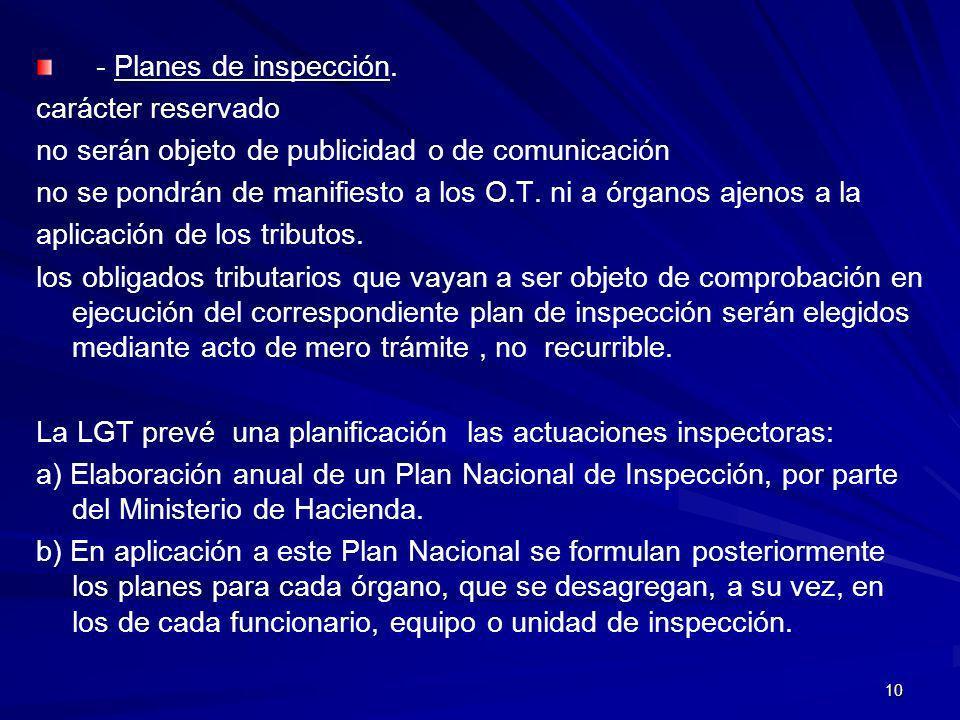 - Planes de inspección. carácter reservado. no serán objeto de publicidad o de comunicación.