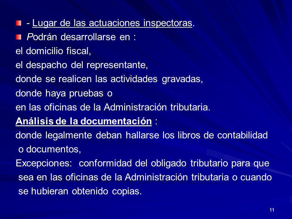 - Lugar de las actuaciones inspectoras.