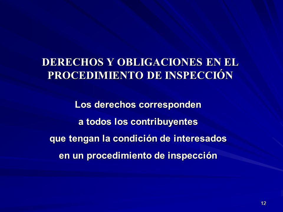 DERECHOS Y OBLIGACIONES EN EL PROCEDIMIENTO DE INSPECCIÓN
