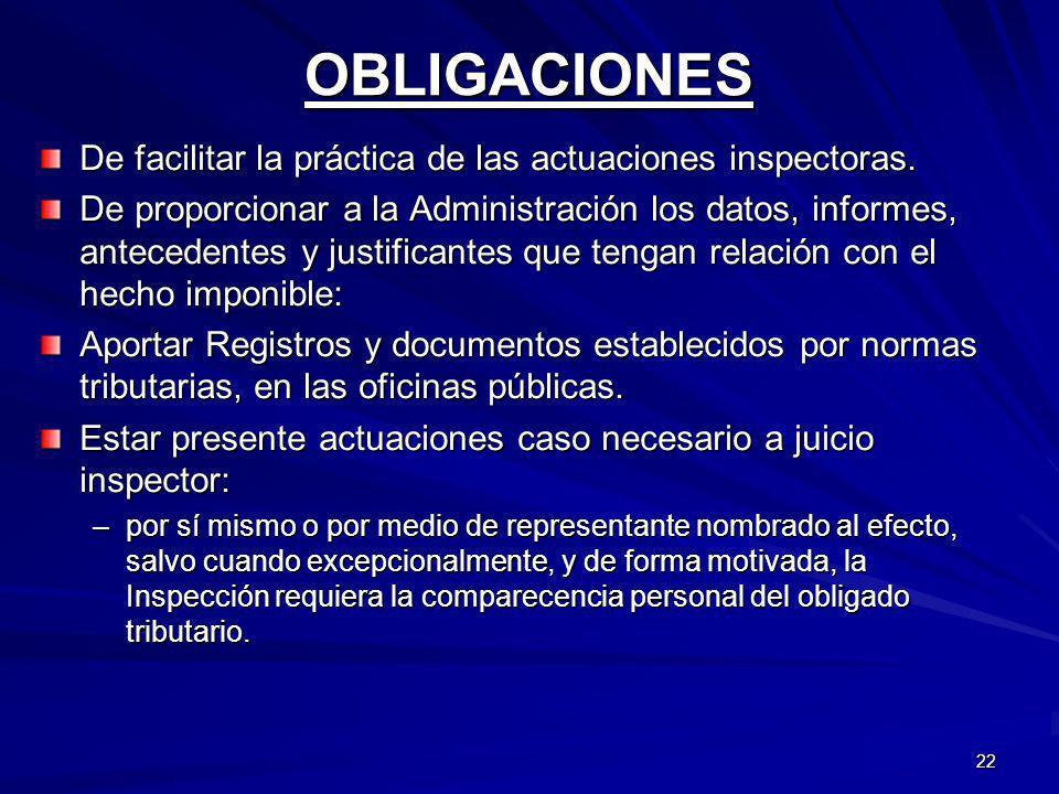 OBLIGACIONES De facilitar la práctica de las actuaciones inspectoras.
