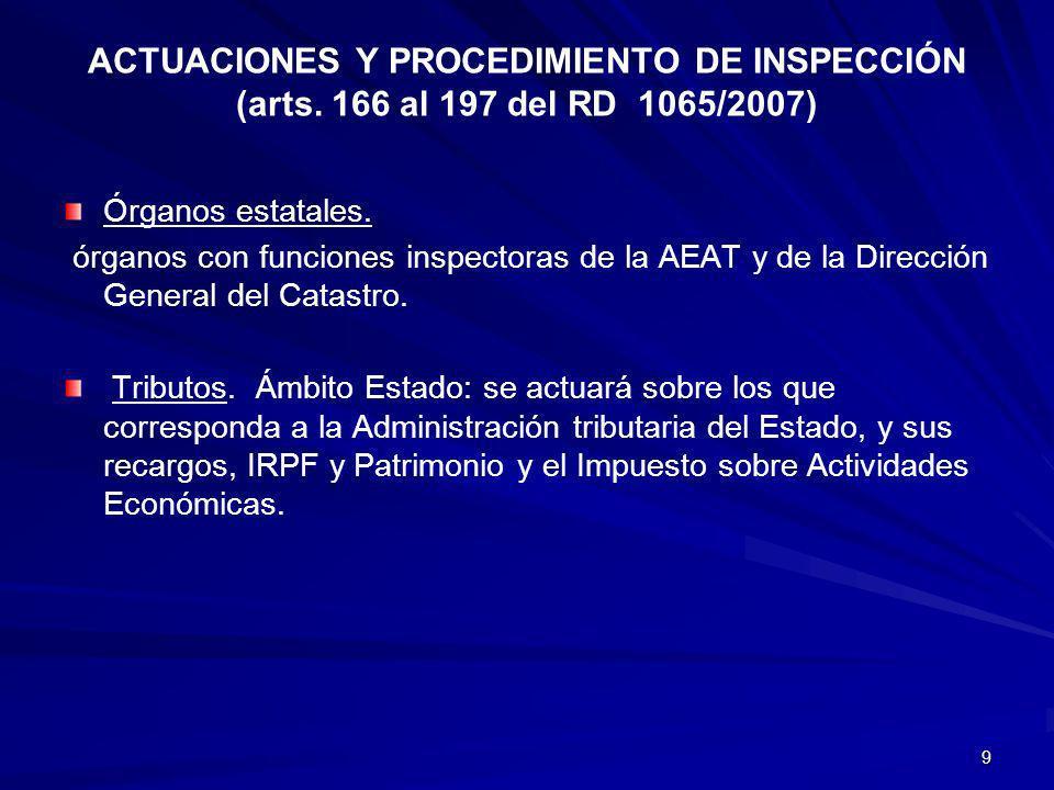 ACTUACIONES Y PROCEDIMIENTO DE INSPECCIÓN (arts