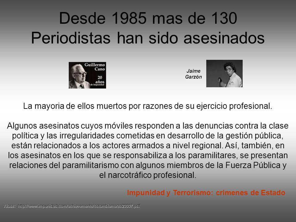 Desde 1985 mas de 130 Periodistas han sido asesinados
