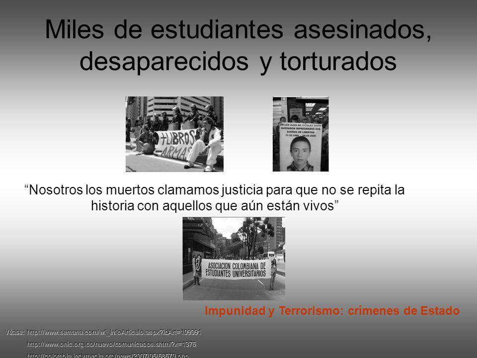 Miles de estudiantes asesinados, desaparecidos y torturados
