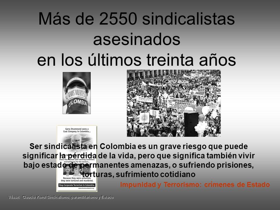 Más de 2550 sindicalistas asesinados en los últimos treinta años