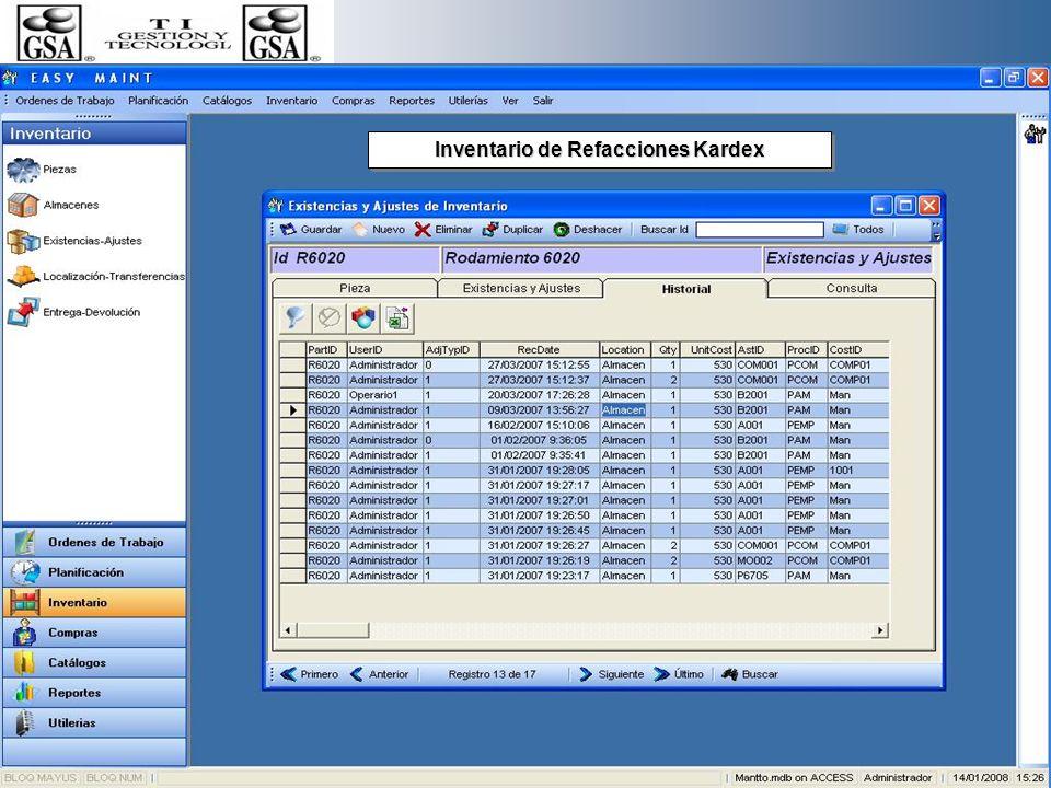 Inventario de Refacciones Kardex