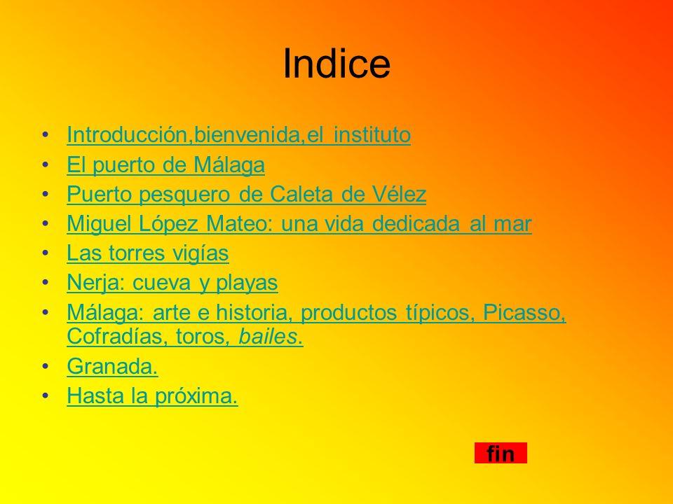 Indice Introducción,bienvenida,el instituto El puerto de Málaga