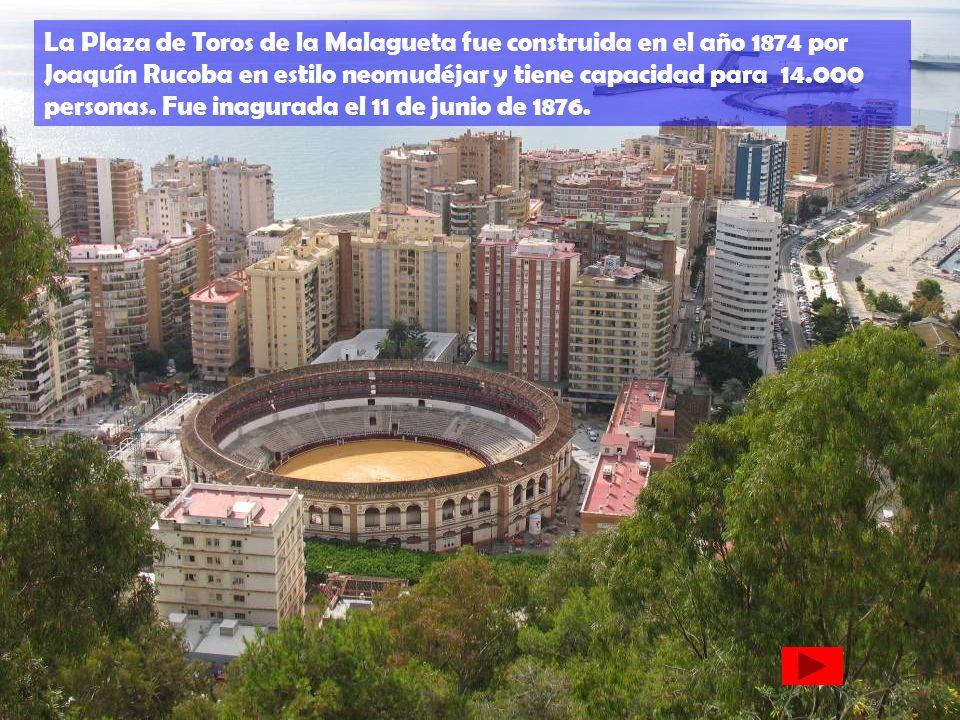 La Plaza de Toros de la Malagueta fue construida en el año 1874 por Joaquín Rucoba en estilo neomudéjar y tiene capacidad para 14.000 personas.
