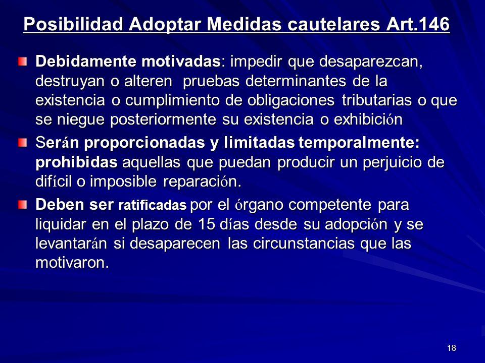 Posibilidad Adoptar Medidas cautelares Art.146