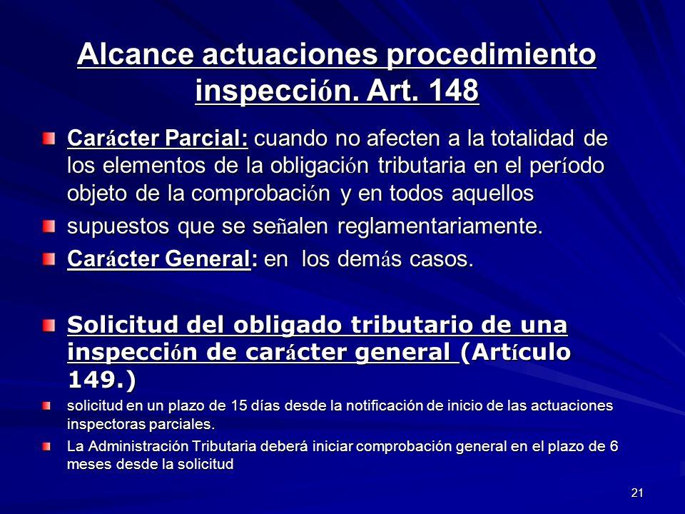 Alcance actuaciones procedimiento inspección. Art. 148